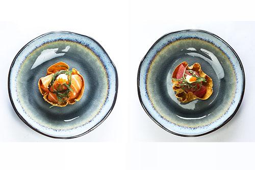 Wonton met zalm en tonijn